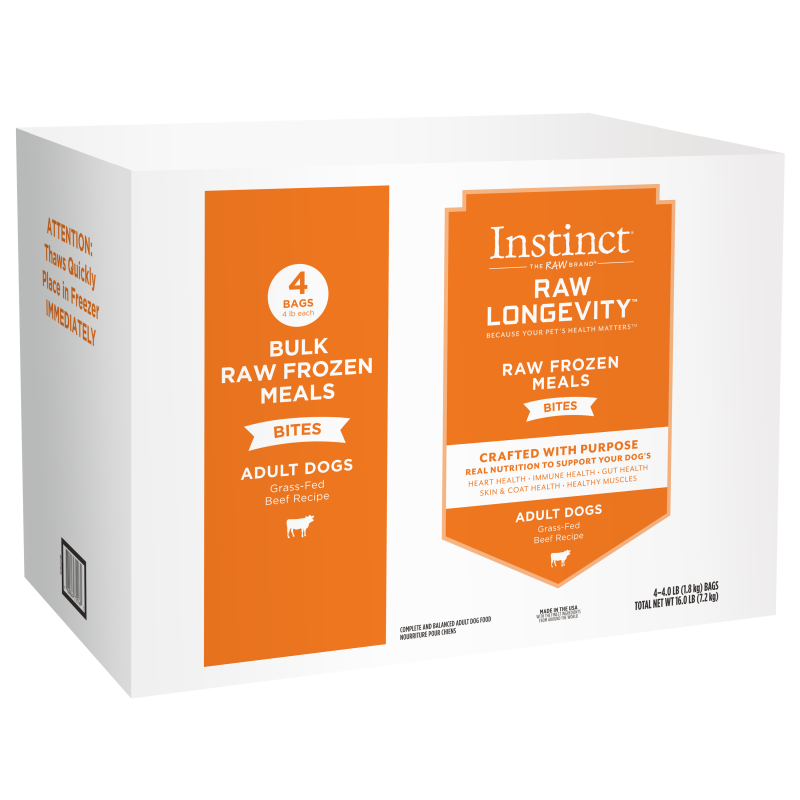Instinct Longevity Adult Frozen Beef Bites Bulk 16lb (Reg $117.99)