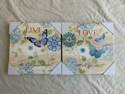 Butterfly Love Live Canvas Set of 2