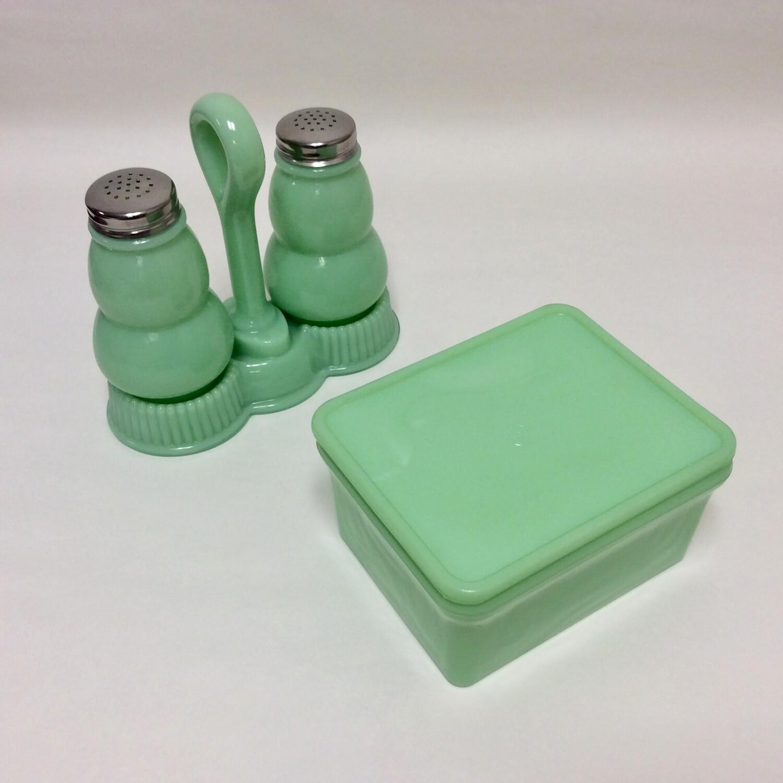 Jadeite Salt and Pepper Shakers and Refrigerator Box