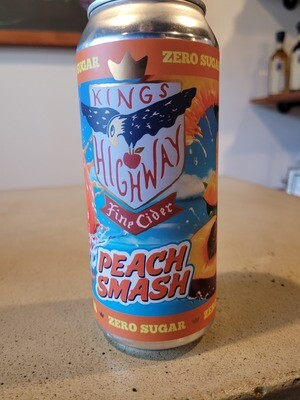 Kingś Highway Peach Smash Cider 16 0z Can