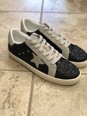 Black Sparkle Star Sneakers