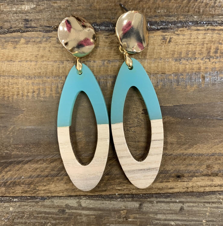 Oval half wood earrings