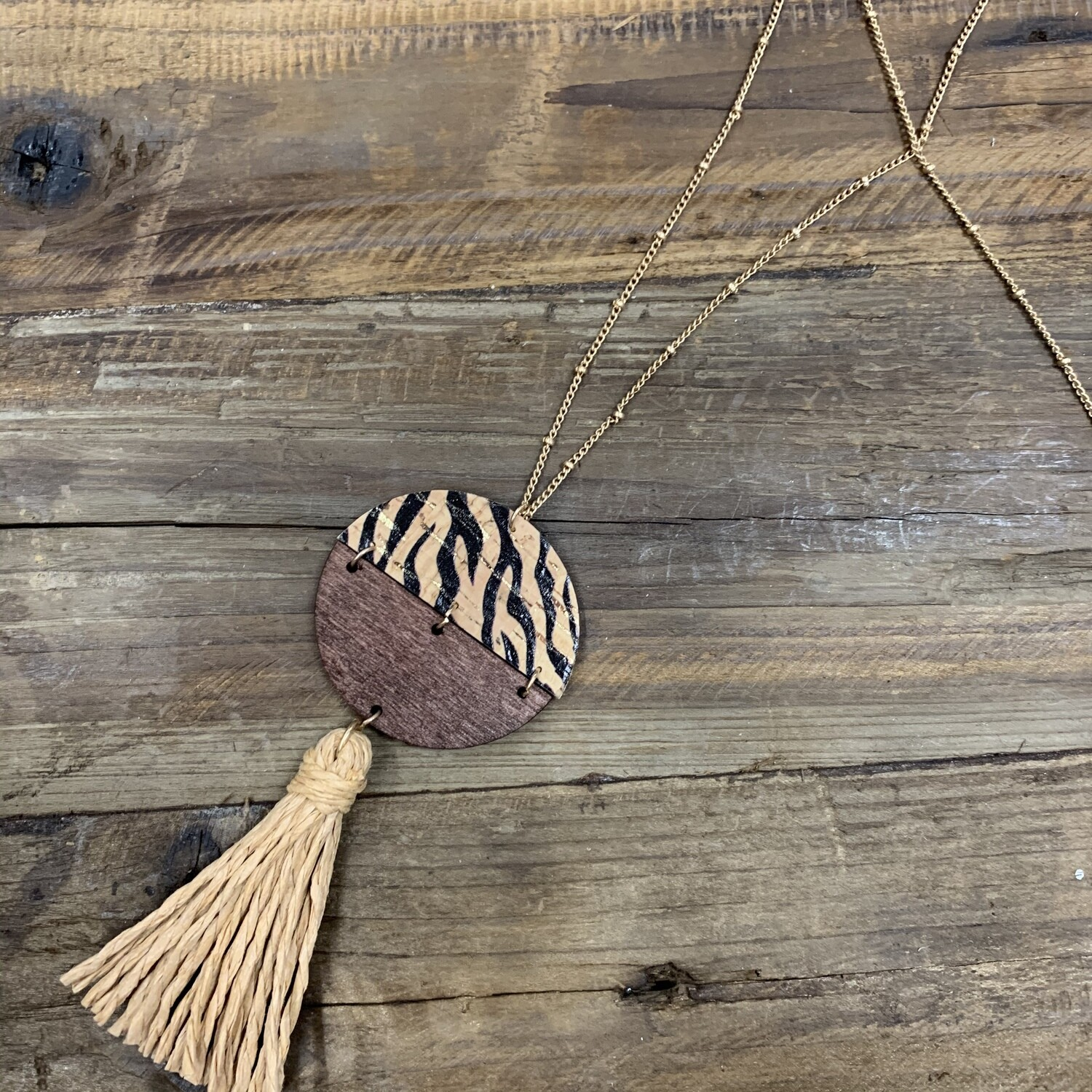 Wood Long Necklace