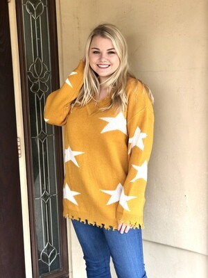 Mustard Star Distressed Sweater