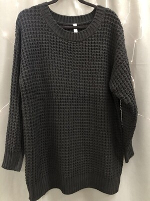 Thick Black Waffle Sweater