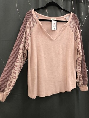 Pink Leopard Soft Long Sleeve Top