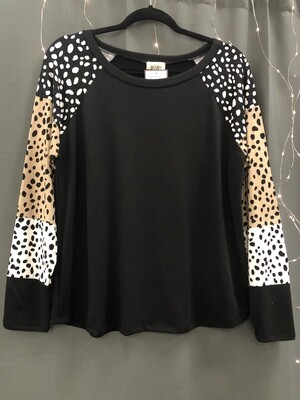 Speckled Sleeve Long Sleeve Top