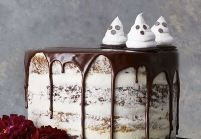Chocolate Pumpkin Ghost Cake (3 layer)