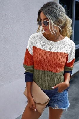 TRI COLOR KNIT SWEATER