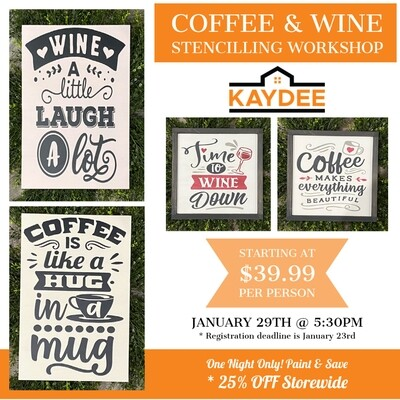 Coffee & Wine Stencilling Workshop - January 29th