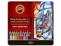 "Карандаши цветные KIN ""POLYCOLOR"" Landscape Colours, набор 24 цв., метал. кор."