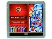 "Карандаши цветные KIN ""POLYCOLOR"", набор 48 цв., метал. кор."