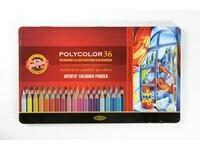"Карандаши цветные KIN ""POLYCOLOR"", набор 36 цв., метал. кор."