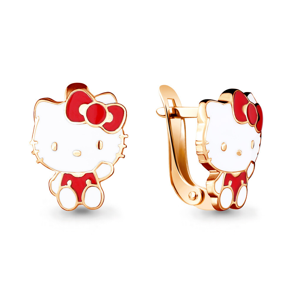 Серьги 33475 серебро 925  Hello Kitty золочение