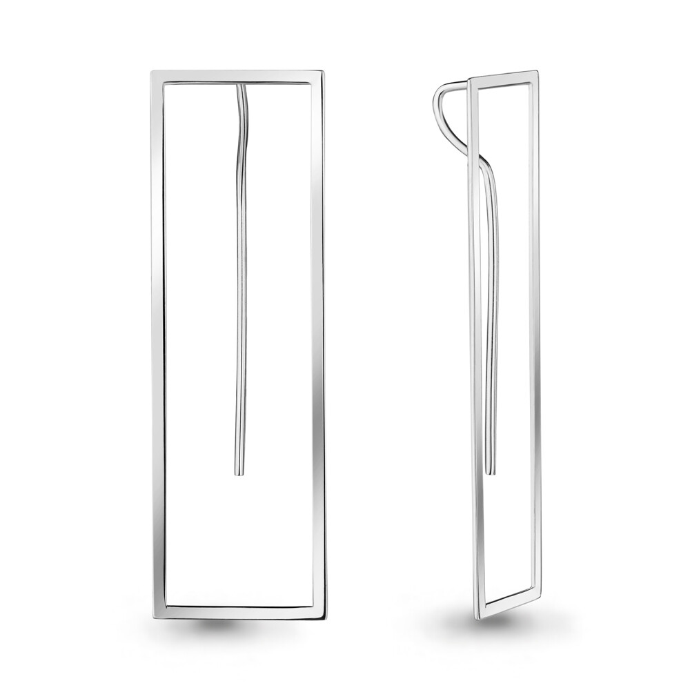 Серьги из серебра без вставок Geometry