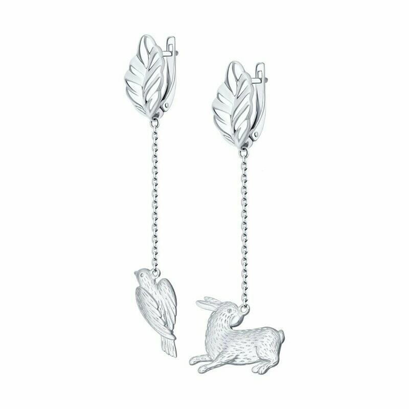 Серьги из серебра с родированием с фианитом