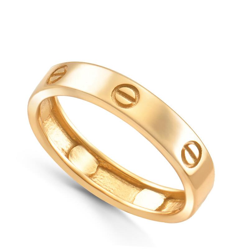 Кольцо из золоченого серебра  без вставок