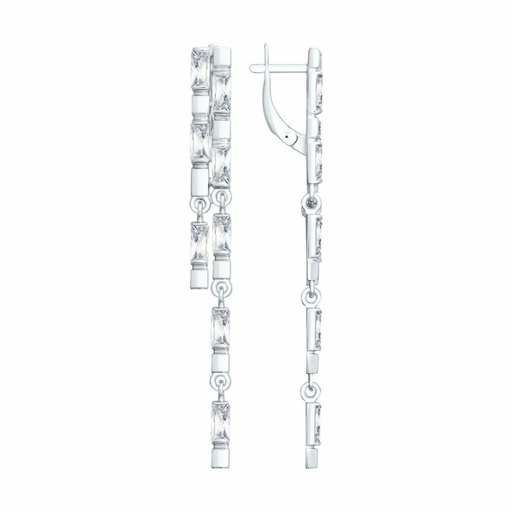 Длинные серебряные серьги с фианитами