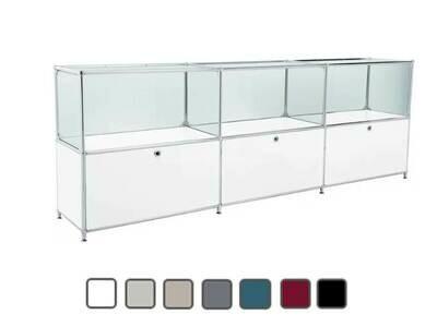Sideboard mit 3 Schubladen, 3 Glasfächer BxTxH: 228x40x80cm