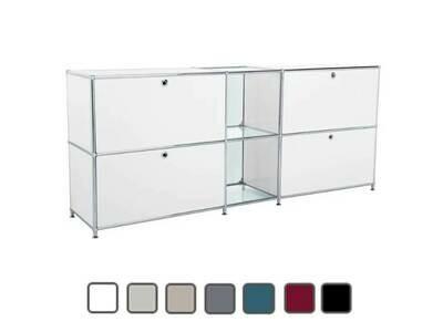 Sideboard mit 2 Schubladen, 2 Klappen, 2 Glasfächer BxTxH: 190x40x80cm