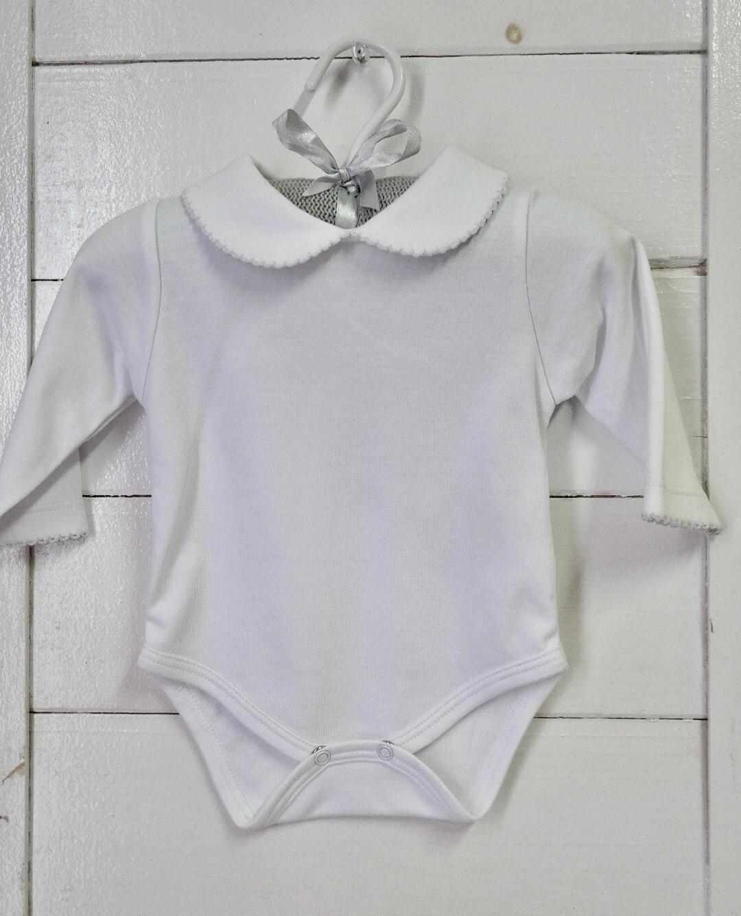 Long Sleeve Body Suit w/ Bebe Collar White 0-3 mos