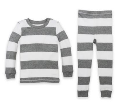 Burts Bees Baby 2 pc Pajama set - grey/white stripe 5