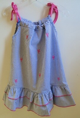 seersucker pink lobster dress - 5