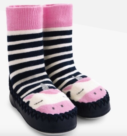 Moccasin slipper socks unicorn 2/4 yrs