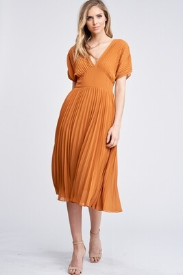Auburn Pleated Midi Dress
