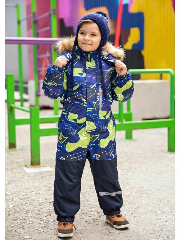 Комбинезон мембранный  для мальчика зимний с меховой опушкой модель Sammy