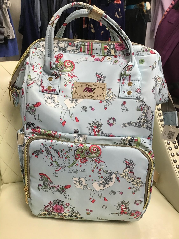 Baby Blue Diaper Backpack w/Print