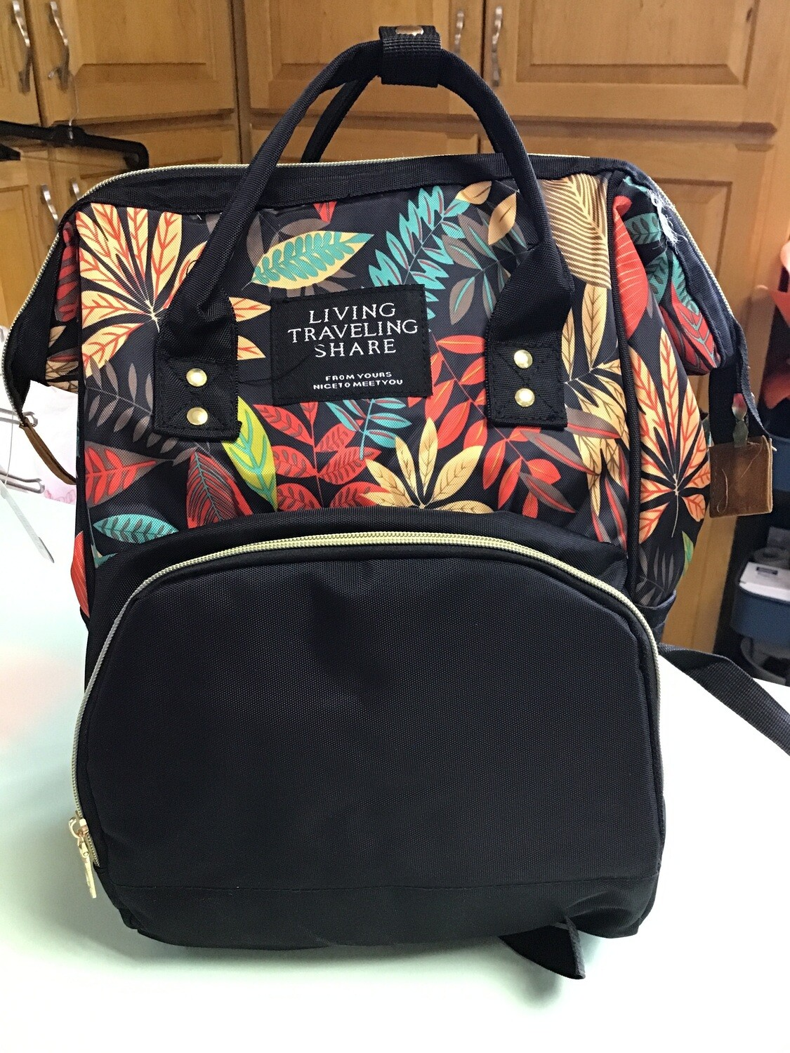 Black Backpack with leaves