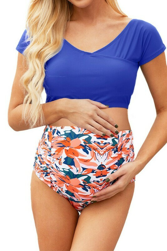 Blue w/floral Bikini bottoms Off Shoulder