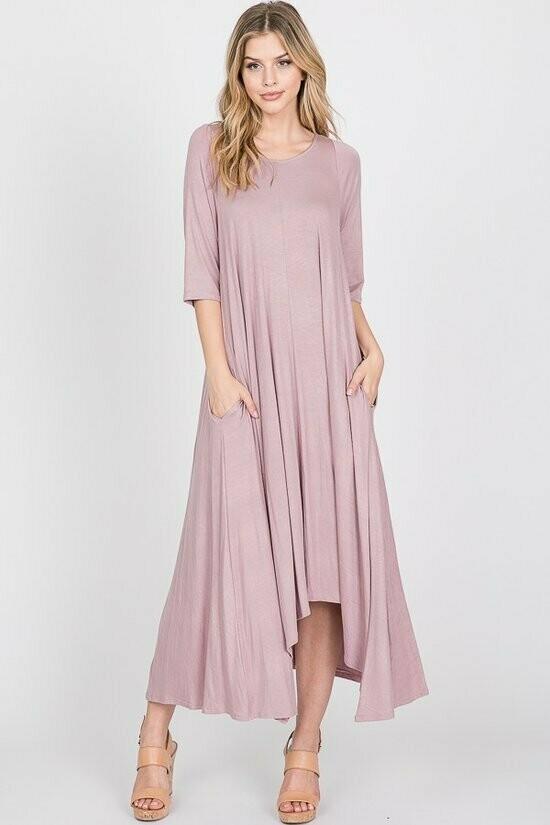 Dusty Pink Dress w/white Stripes