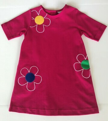 Bright Pink Knit Flower Dress
