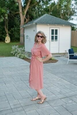 Woven Speckled Dot Midi-Dress