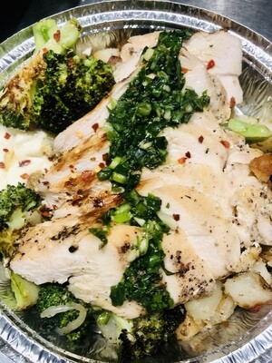 Grilled Chicken over Roasted Potatoes and Charred Broccoli