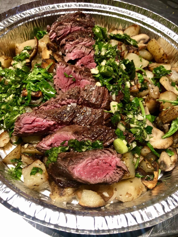 Hanger Steak and Mushroom Hash