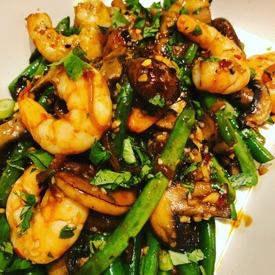 Sesame Shrimp w/ Chili Glazed Green Beans and Mushrooms