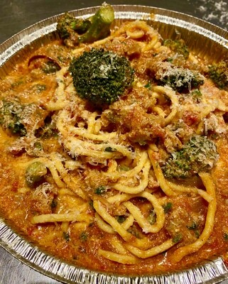 Sage Sausage & Broccoli Spaghetti in Ricotta Red sauce