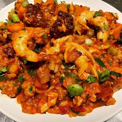 Shrimp, Sausage & Chicken Jambalaya