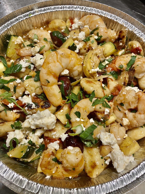 Greek Shrimp Spaghetti in Herb&OliveOil  w/ Artichoke and Feta