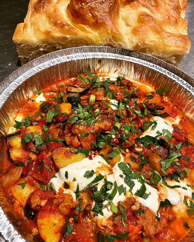 Charred Zucchini, Sage Sausage Mozzarella in RedSauce with Focaccia