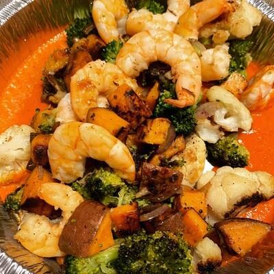Shrimp Romesco w/ Charred Broccoli, Cabbage and Squash