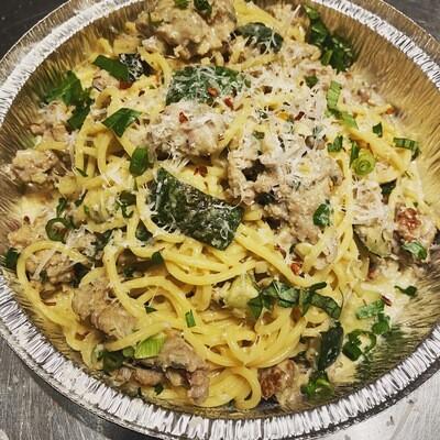Zucchini & Sage Sausage Spaghetti in Roasted Garlic Cream