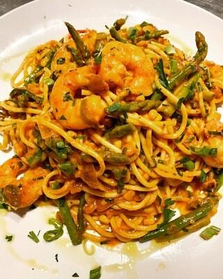 Shrimp & Asparagus Spaghetti w/ Charred Corn & Peppers in Romesco Sauce