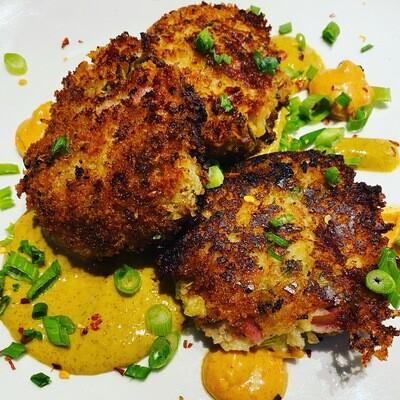 Ham & Cheese Potato Croquettes w/ HoneyMustard & Garlic Aioli