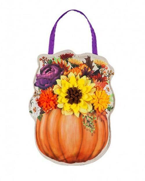 Evergreen Floral Pumpkin Door Decor