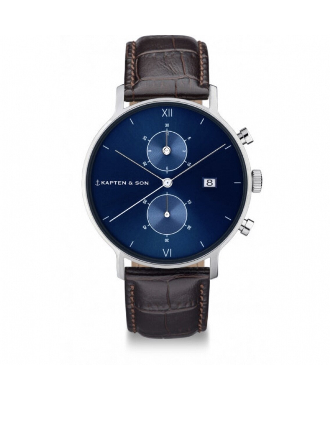 Kapten & Son Chrono Silver Blue Brown
