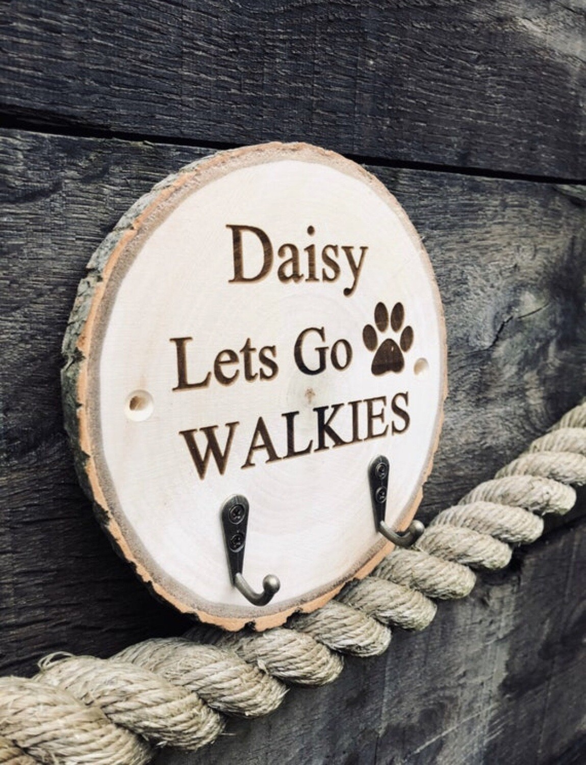Personalised Handpainted Wooden Dog Lead Holder Pet Puppy